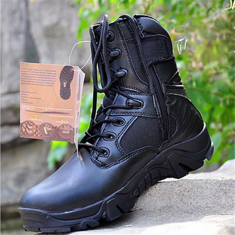 Side Zipper Brand Men Army Boots Men Military Tactical Boots Outdoor Hiking Desert Genuine Leather Ankle Boots Male Combat Botas military men s outdoor cow suede leather tactical hiking shoes boots men army camping sports shoes