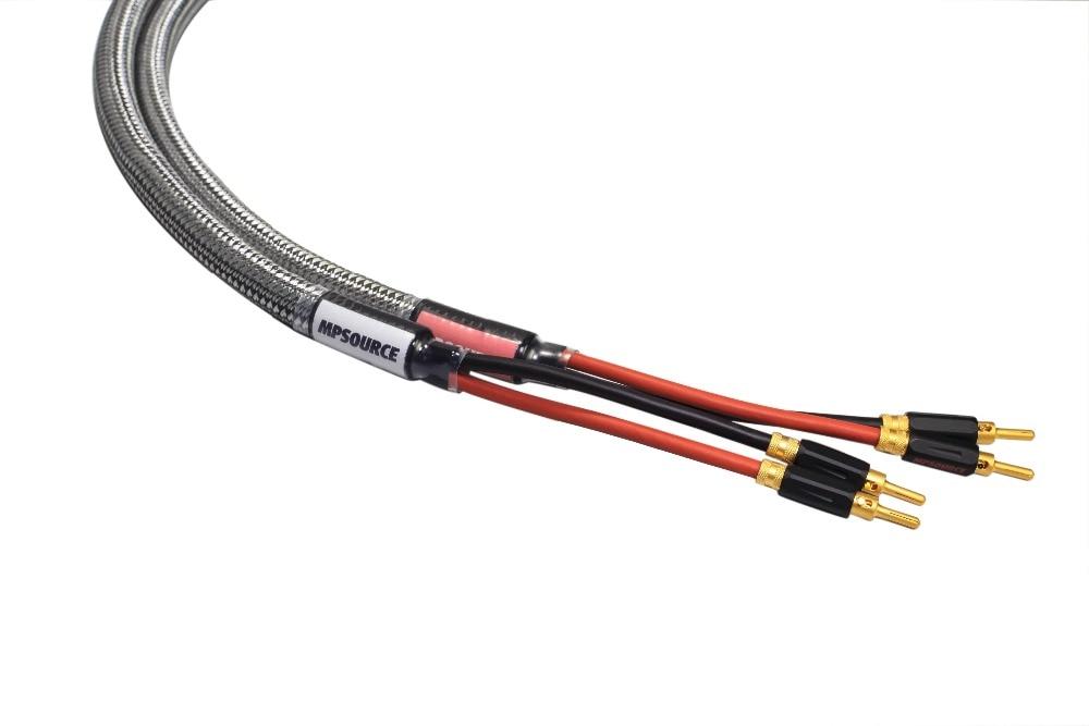 MPSource Tena Hi end 99.99997% OCC 24 K plaqué or connecteur de haut-parleur banane plug Bi fil haut-parleur amplificateur de câble audio 1 paire - 2