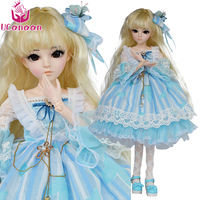 UCanaan 24'' Girls Toys 1/3 BJD 18 Ball Jointed Dolls For Children With Beauty Dress Shoes Wig Makeup Baby Alive Reborn Doll