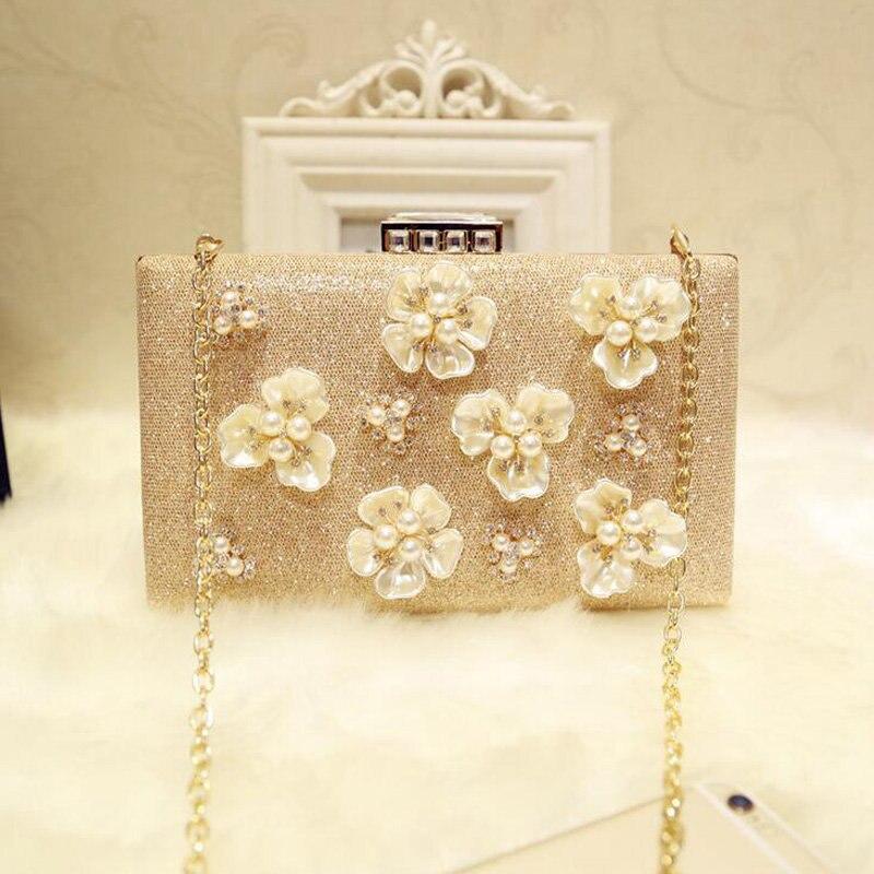 De Moda de lujo Señora Bolso De Noche Con Cuentas de Flores de Perlas de Diamant
