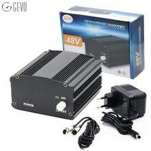 GEVO фантом мощность 48 В поставляется с адаптером и 3 м аудио XLR кабелем для любого конденсаторного микрофона оборудование для записи музыки звука микрофон студийный фантомное питание блок питания микрофон фантомное