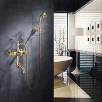 Antique Brass Shower Faucet Brass Polished Bathtub Faucets Hand Rain Shower Head Tap Luxury Ceramic Telephone Wall Bath Faucet