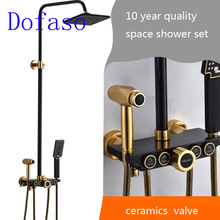 Dofaso gold and black shower faucet Set with bidet and bathroom big ran shower head 22cm ran cartwright dreams and nightmares