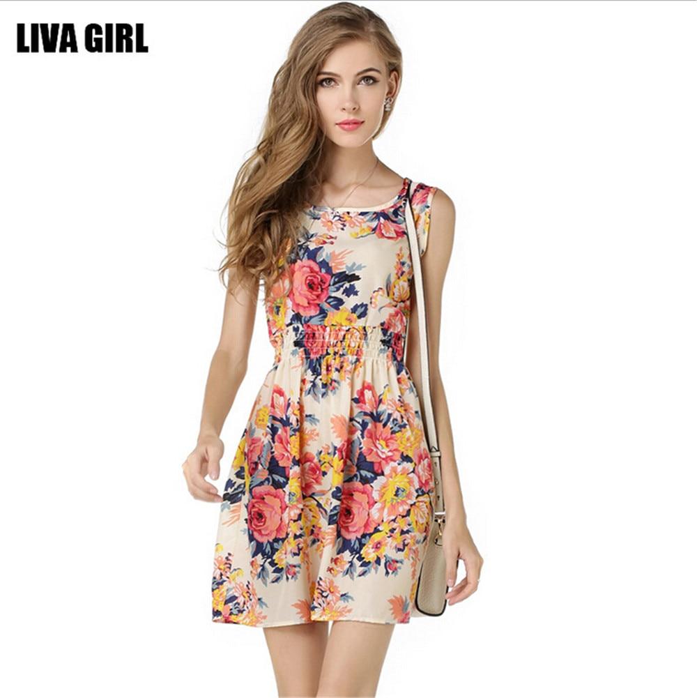 Navy short lace mini summer dress dresses elegant party vestidos brand - Summer Style Women Dress Casual Mini O Neck Sleeveless Short A Line Dress Printed Party
