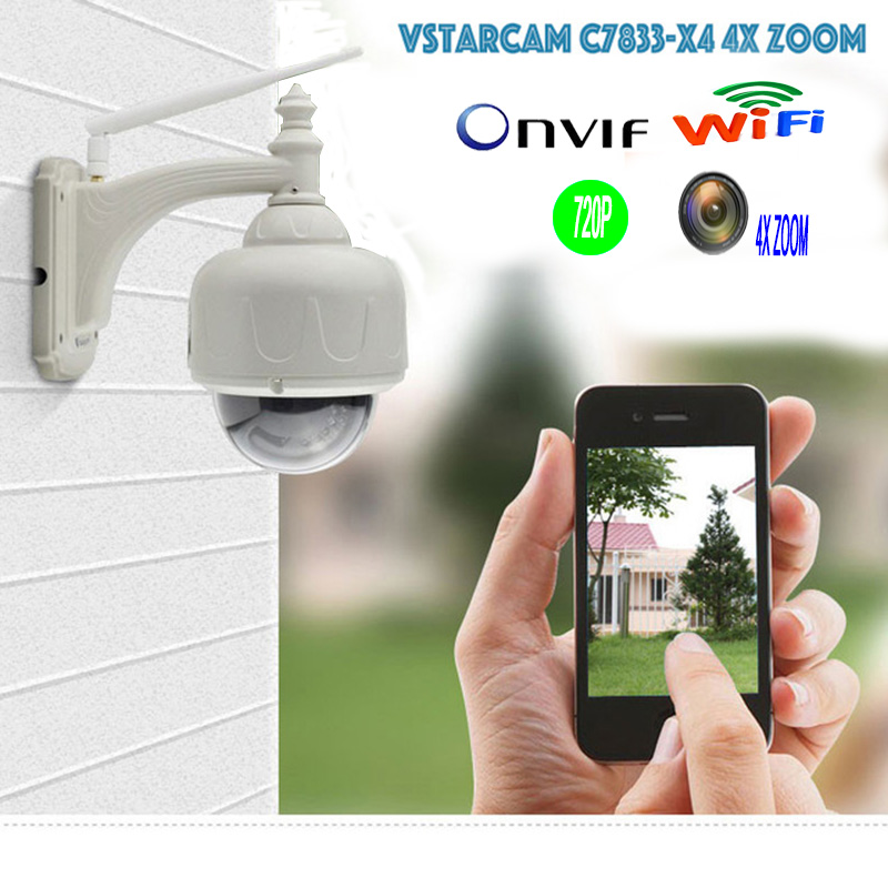 VSTARCAM Onvif Wireless IP Camera Outdoor HD 720P WIFI PTZ Dome CCTV Security Camera 4 Optical
