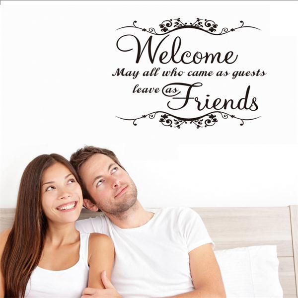 Aliexpress buy welcome my friends quote wall stickers greeting welcome my friends quote wall stickers greeting words for door window decorative home decor black color m4hsunfo