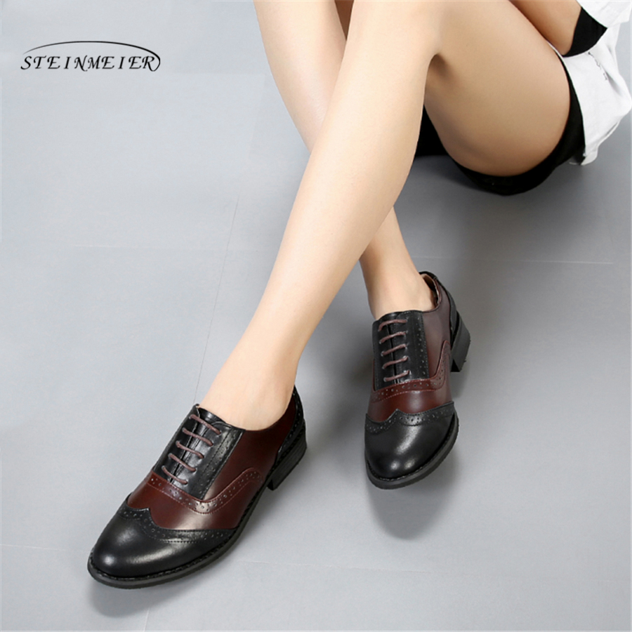Women Flats Oxford Shoes Woman Genuine Leather Sneakers Ladies Brogues Vintage lace up Casual Shoes Oxfords