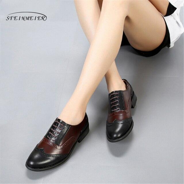 Mulheres Brogues Flats Oxford Shoes Mulher Sapatos Tênis de Couro Genuíno Das Senhoras Do Vintage rendas até Sapatos Oxfords Sapatos Casuais Para As Mulheres