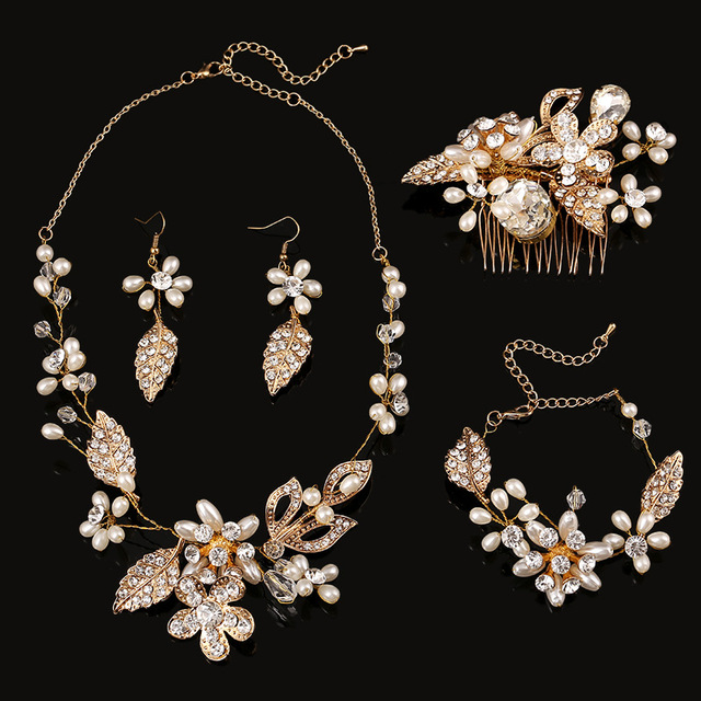 2015 New Rhinestone Crystal Statement Wedding Party Jewelry Set For Brides Necklaces Earrings Hair Accessories bracelets
