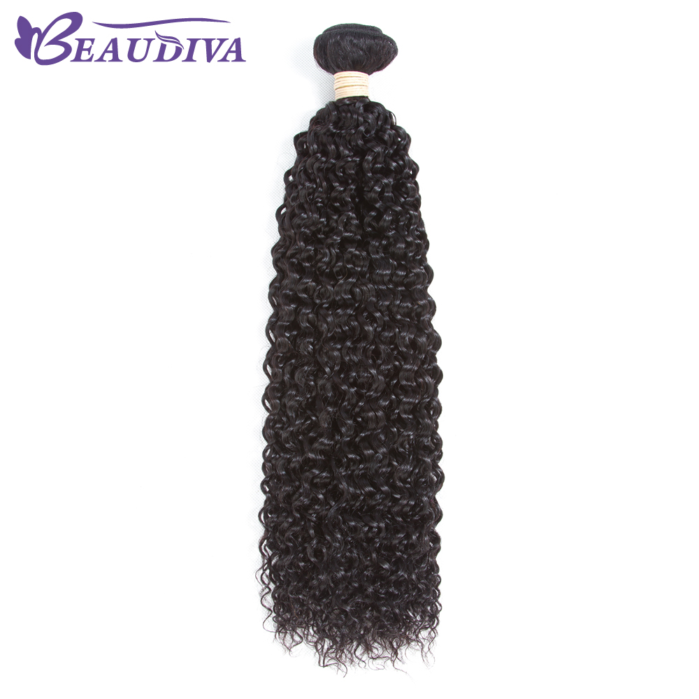 BEAUDIVA Pre-Colored Human Hair Weave Kinky Curly Natural Color Soft Hair Bundles Tangle Free Brazilian Curly Hair