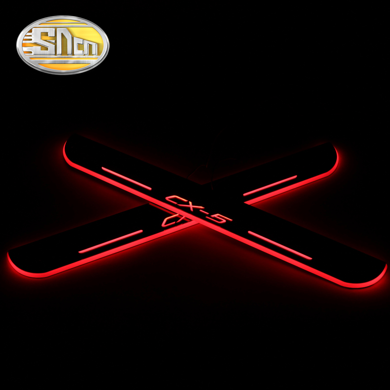 SNCN Waterproof Acrylic Moving LED Welcome Pedal Scuff Plate Pedal Door Sill Pathway Light For Mazda