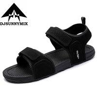 DJSUNNYMIX Marque 2018 D'été de gladiateur hommes plage sandales en plein air chaussures Romaine hommes sport chaussures flip flops toile respirant