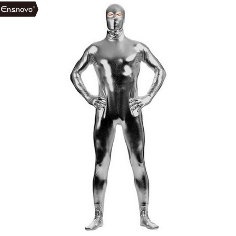 Ensnovo Men Lycra Catsuit Open Eye Spandex Shiny Metallic Zentai Suit Full Body Nylon Custom Skin Open Eyes Costume Bodysuit