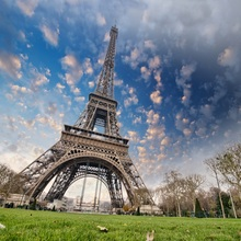 Laeacco Cloudy Sky Eiffel Tower Paris Scenic Baby Photography Backgrounds Vinyl Custom Photographic Backdrops For Photo Studio