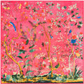 130 cm * 130 cm sarja pesada seda da flor do pássaro da selva grande praça cachecol toalha