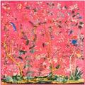 130 cm * 130 cm, tela de sarga de seda flor de la selva pájaro cuadrado grande bufanda toalla