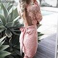 M. H. Artemis Mulheres Vintage lace backless vestido Sexy Com Decote Em V Bodycon oco out lace floral sheer Ver Através arco amarrado mini vestido