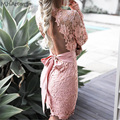 M.H.Artemis Women Vintage lace backless dress Sexy V-neck Bodycon hollow out floral lace sheer See Through bow tied mini dress