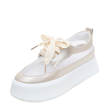 Fujin Flats Women Summer Platform Shoes Fashion Causal Mesh Ventilation for Female Hollow Thick Bottom 4 Color