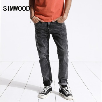 SIMWOOD Men's Jeans Brand Printed Denim Pants