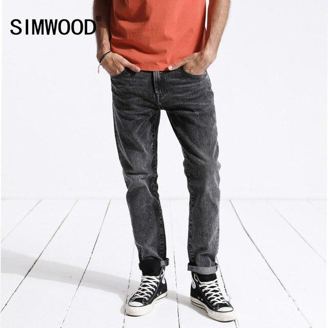 SIMWOOD Men's Jeans Brand Printed Denim Pants
