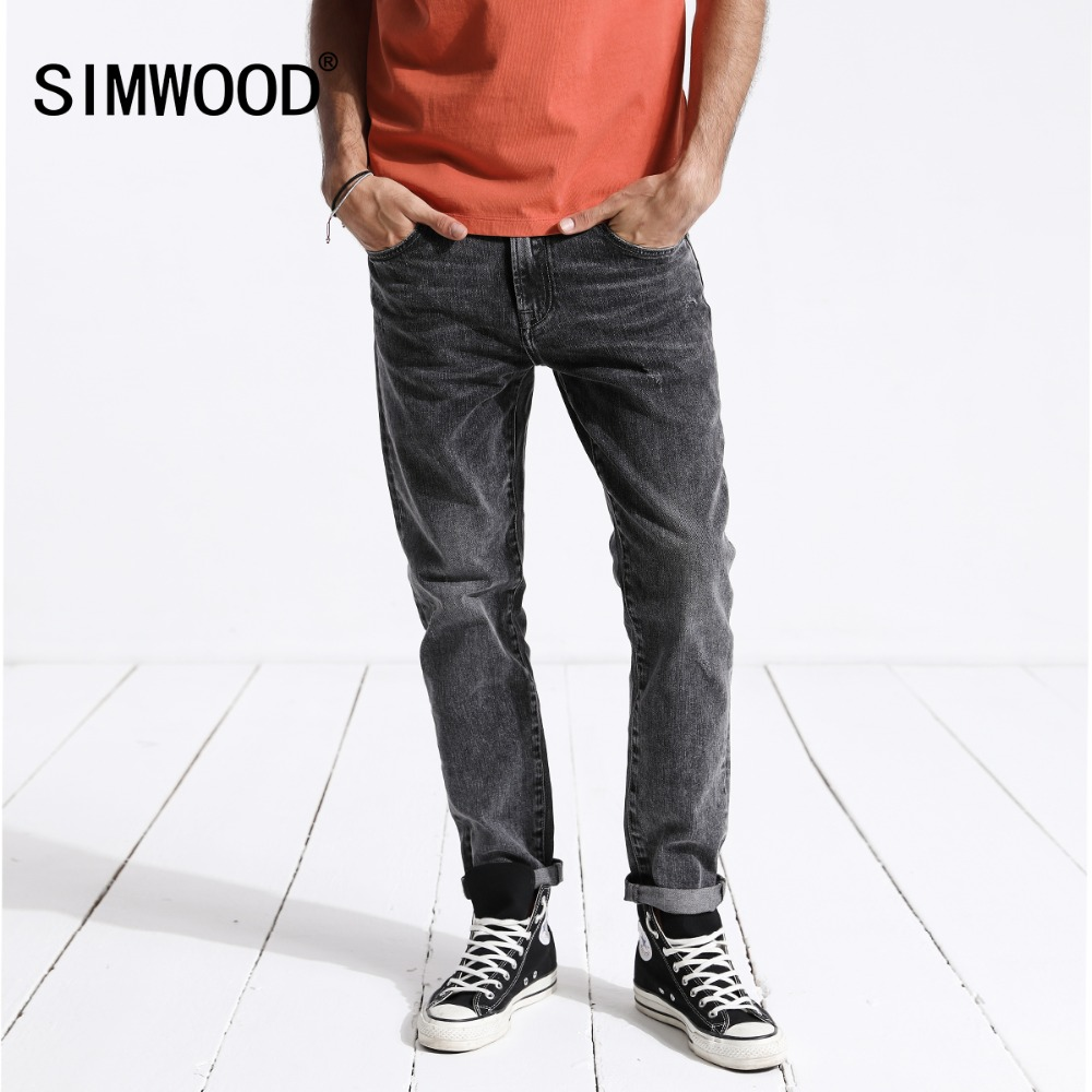 SIMWOOD 2019 New Arrival Men's   Jeans   Brand Hot Sale Letter Printed Denim Pants Slim Plus Size Trousers Free Shipping 180343