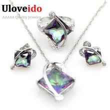 Set dámských šperků s krystalem – řetízek, prstýnek, náušnice