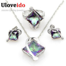 Uloveido 50% off Blue Cristal Women's Created Sapphire Earrings Ring Necklace Silver Wedding Jewelry Sets with Large Stone T295