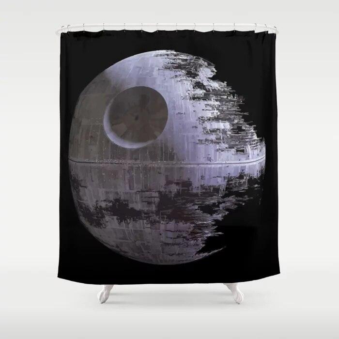 Star War Black Death Shower Curtain With Hooks Doormat