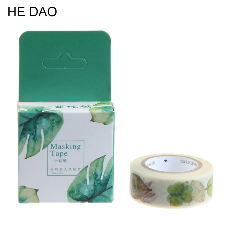 1 Pcs Size 15 Mm*10m Diy Leaf Leaves Japanese Paper Washi Tapes Masking Tape Decorative Adhesive Tapes School Supplies