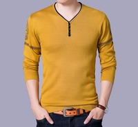 Korean Casual Fashion V Neck Color Matching Sweater Men Autumn Winter Sweaters Pullovers Male Tops Homme Sweaters