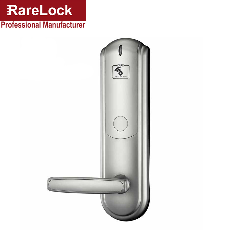 Rarelock Christmas Supplies Silver Electric Door Lock RFID Card Induction Lock for Hotel Flat Apartment Home Intelligence a hotel lock system rfid t5577 hotel lock gold silver zinc alloy forging material sn ca 8037