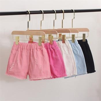 Baby Teenager Shorts Summer Denim Shorts For Girls White Pink Teens Girl Short Jeans 3 4 5 6 7 8 9 10 12 15 Years Old Kids 1
