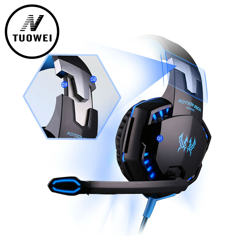EACH G2000 Gaming Headset Free products Wired Earphone Gamer Headphone With Microphone LED Noise Canceling Headphones for  PC wired headphones earphone gaming headset foldable headphone with microphone stereo headset gamer for computer iphone xiaomi sony