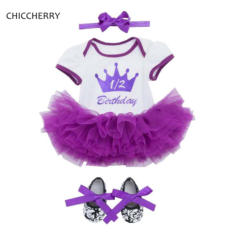 Princess Crown Lace Romper Dress Headband Crib Shoes Toddler Girls Birthday Tutu Sets Baby Girl Clothes Summer Children Clothing