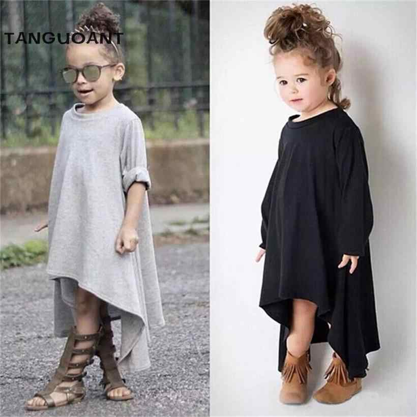 TANGUOANT Spring And Summer Girl Dress Black And Gray Irregular Hem dress Long Sleeves Solid Dress For Kids