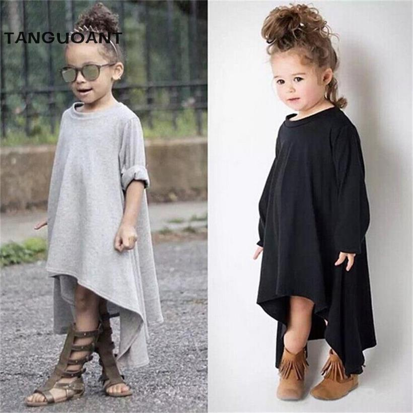 TANGUOANT Spring And Summer Girl Dress Black And Gray Irregular Hem dress Long Sleeves Solid Dress For Kids curved hem striped tee dress