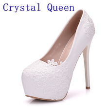 Crystal Queen Bridal Shoes Summer Hollow White Lace Beautiful Wedding Marriage Flower High-heeled Women's Pumps Woman Shoes(China)