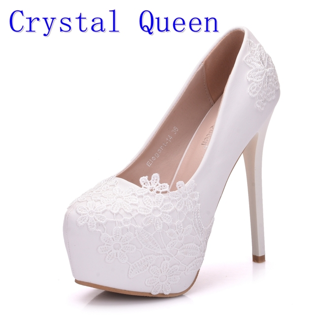 fcfca8e4a35 Crystal Queen Bridal Shoes Summer Hollow White Lace Beautiful Wedding  Marriage Flower High-heeled Women s