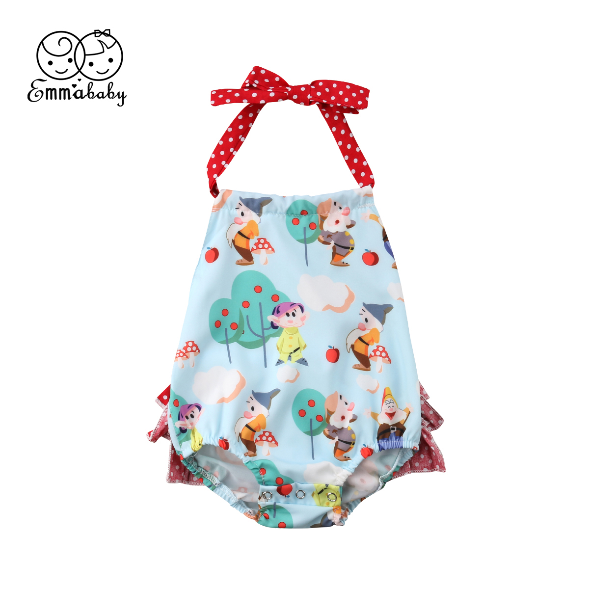 Cute Newborn Baby Girl Sleeveless Backless Cartoon Flower Strap   Romper   Jumpsuit Outfits Baby Clothes