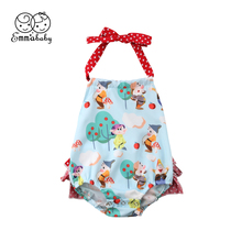 Cute Newborn Baby Girl Sleeveless Backless Cartoon Flower Strap Romper Jumpsuit