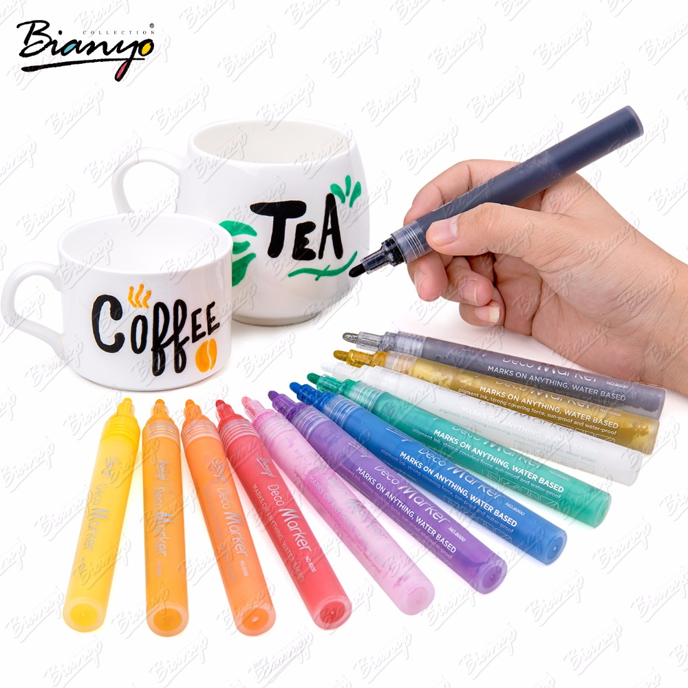 Bianyo 12/24Color DIY Creative Markers Highlight Waterproof Acrylic Paint Marker Color Booking Deco White Markers Art Supplier promotion touchfive 80 color art marker set fatty alcoholic dual headed artist sketch markers pen student standard