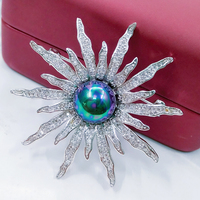 Vintage Pearl Brooch Pin White Round Stone Micro Pave CZ Firework Brooches Pin Silver Tone Diamante