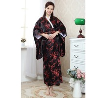 High Quanlity Black Red Japanese Women's Silk Kimono With Obi Noble Sexy Prom Gown Dress Dragon Phenix Pattern One Size