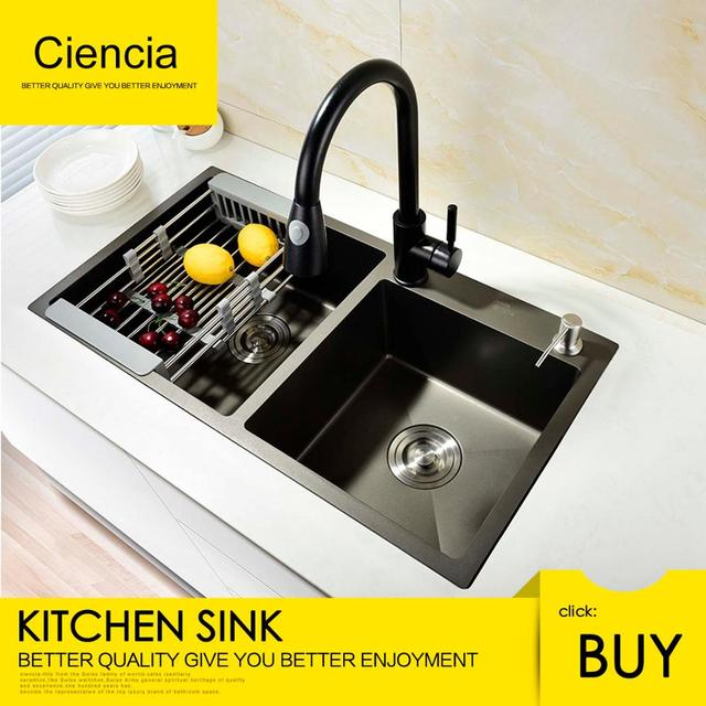 buy undermount kitchen sink corner nook aliexpress com free shipping ciencia stainless steel black doubie set with pull out faucet not