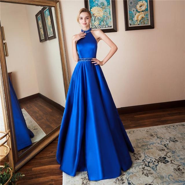 Baijinbai Robe De Soiree Luxury Blue Evening Dresses New Arrival 2 Pieces A Line Puffy Beaded Long Prom Party Dresses 765