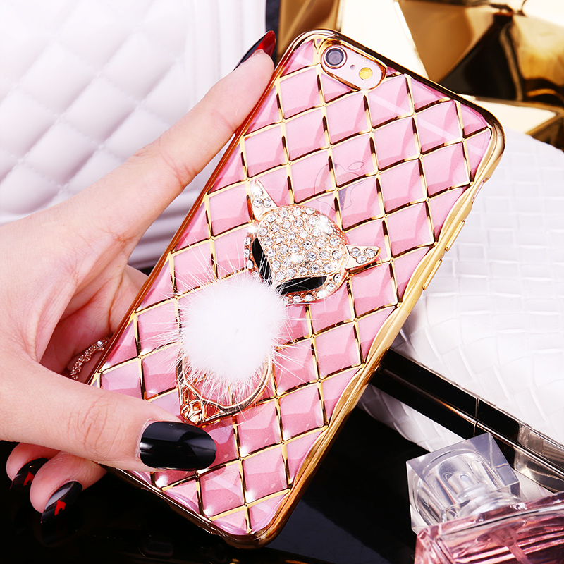 For iphone 6 6S PLUS 7 7 PLUS Phone Case Fox Rhinestone Finger Ring Buckle Diamond Grid Soft Transparent TPU Shell Covers