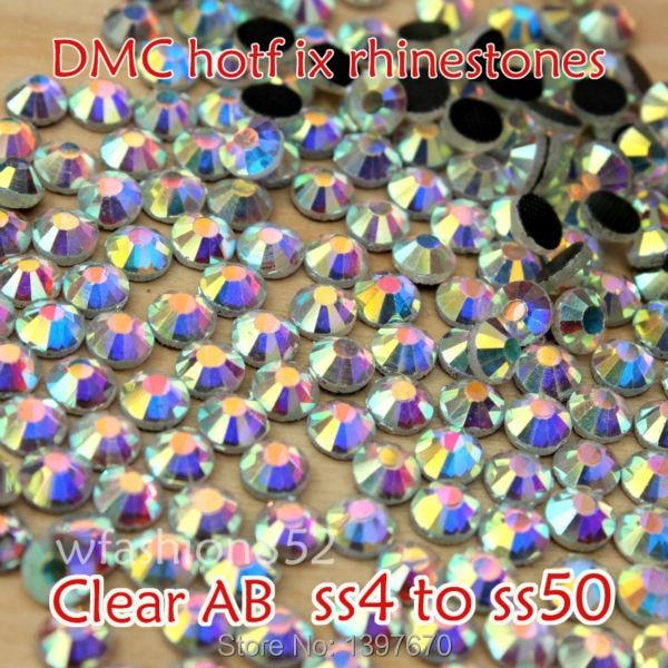 A + DMC Clear AB červená světla Hotfix drahokam flatback sklo Hot - Umění, řemesla a šití