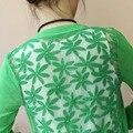 Mujeres del verano de la rebeca Cardigans de punto de manga camisa de gran tamaño trasera ata ahueca hacia fuera Crochet Tops para las damas Cardigans S32