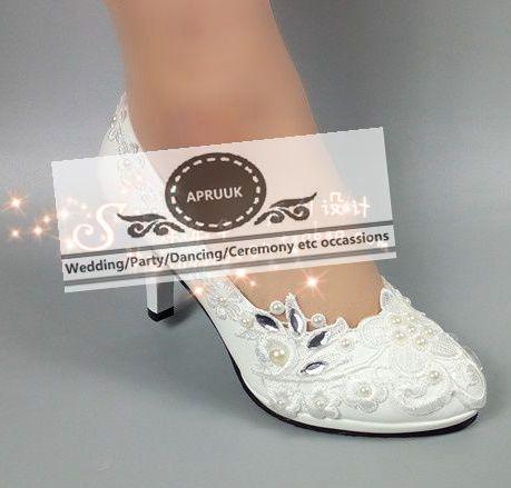 Plus size high heel platforms white lace ivory pearl bridal wedding shoes HS365 female ladies bridesmaid pumps цена